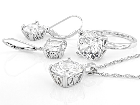 White Cubic Zirconia Rhodium Over Sterling Silver Jewelry Set 22.50ctw
