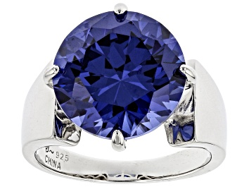 Picture of Blue Cubic Zirconia Rhodium Over Sterling Silver Ring 13.05ctw