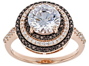 White And Mocha Cubic Zirconia 18K Rose Gold Over Sterling Silver Ring 3.83ctw