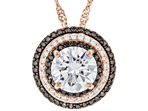 White And Mocha Cubic Zirconia 18K Rose Gold Over Sterling Silver Pendant With Chain 6.86ctw