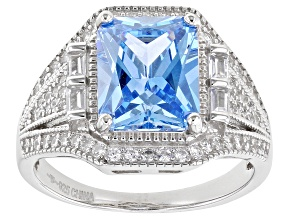 Blue And White Diamond Simulant Rhodium Over Sterling Silver Ring 6.02ctw