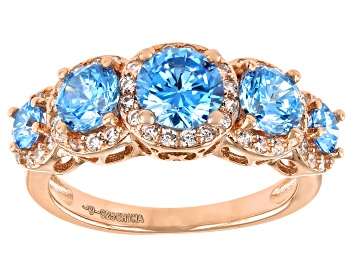 Picture of Blue And White Cubic Zirconia 18K Rose Gold Over Sterling Silver Ring 3.80ctw