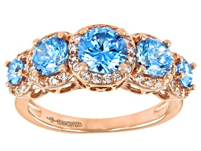 Blue And White Cubic Zirconia 18K Rose Gold Over Sterling Silver Ring 3.80ctw