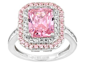 Pink And White Cubic Zirconia Rhodium Over Sterling Silver Ring 4.55ctw