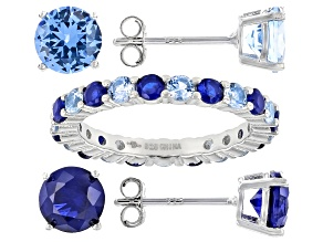 Lab Created Blue Spinel Rhodium Over Sterling Silver Jewelry Set 7.76ctw