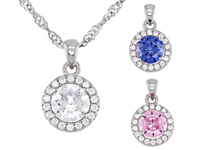 Pink, Blue, And White Cubic Zirconia Rhodium Over Silver Interchangeable Pendants With Chain 4.53ctw