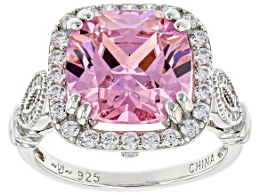 Pink And White Cubic Zirconia Platinum Over Sterling Silver Ring 6.84ctw