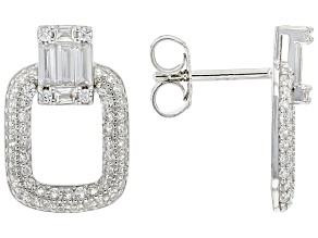 White Cubic Zirconia Rhodium Over Sterling Silver Earrings 1.85ctw