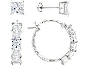 White Cubic Zirconia Rhodium Over Sterling Silver Earring Set 8.73ctw