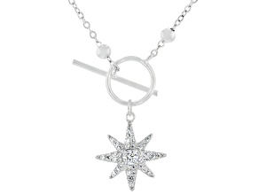 White Cubic Zirconia Rhodium Over Sterling Silver Star Station Necklace 0.43ctw