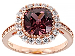 Blush And White Cubic Zirconia 18K Rose Gold Over Sterling Silver Ring 3.98ctw