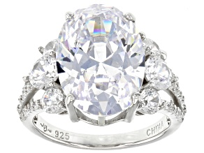 White Cubic Zirconia Platinum Over Sterling Silver Ring 10.09ctw