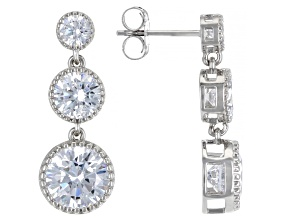 White Cubic Zirconia Rhodium Over Sterling Silver Earrings 9.34ctw