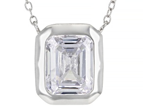 White Cubic Zirconia Rhodium Over Sterling Silver Necklace 5.04ctw