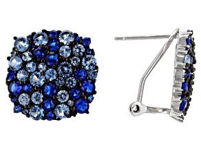 Lab Created Blue Spinel Rhodium Over Sterling Silver Earrings 5.17ctw