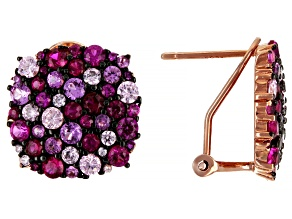 Lab Created Ruby 18K Rose Gold Over Sterling Silver Earrings 4.96ctw