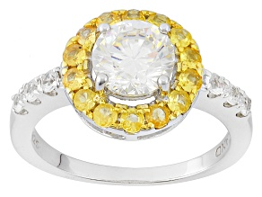 White Fabulite Strontium Titanate With Yellow Sapphire And White Zircon Silver Ring 2.38ctw