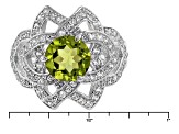 Green Peridot Sterling Silver Ring 2.66ctw