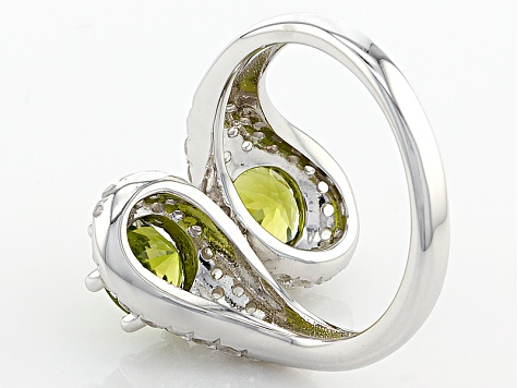 Green Peridot Sterling Silver Bypass Ring 2.79ctw