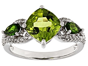 Green Peridot Sterling Silver Ring 2.94ctw