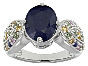 Blue Sapphire Sterling Silver Ring 3.55ctw