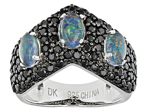 Multi Color Coober Pedy Opal Triplet Sterling Silver Ring 1.65ctw
