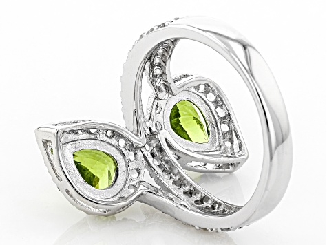 Green Peridot Sterling Silver Ring 2.93ctw