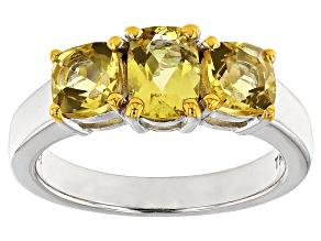 Yellow Beryl Silver Ring 1.18ctw