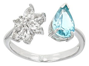 Blue Apatite Sterling Silver Ring 1.44ctw