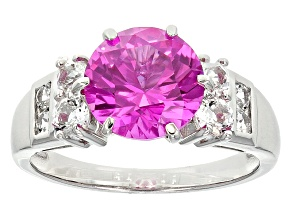 Pink Lab Created Sapphire Sterling Silver Ring 3.47ctw