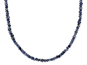 Purple Iolite Bead Rhodium Over Sterling Silver Necklace Approximately 24.80ctw