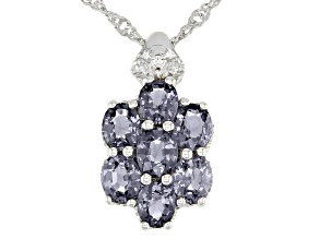 Platinum Color Spinel Rhodium Over Silver Pendant With Chain 2.15ctw