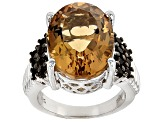 Brown Champagne Quatrz Sterling Silver Ring 9.92ctw