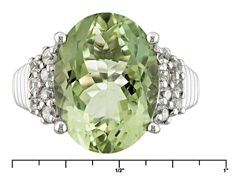 Green Prasiolite Sterling Silver Ring 9.38ctw