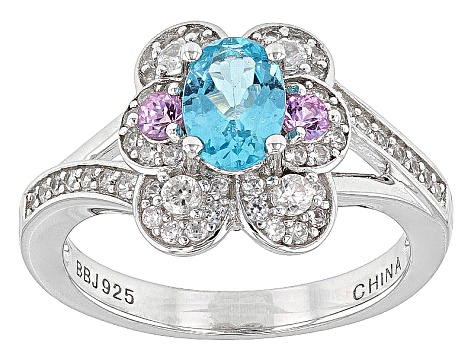 Blue Paraiba Color Apatite, Pink Sapphire And White Zircon Sterling Silver Ring 1.33ctw