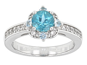 Blue Paraiba Color Apatite Sterling Silver Ring 1.26ctw