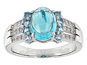 Blue Apatite Sterling Silver Ring .49ctw