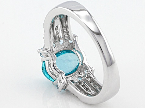 Blue Apatite Rhodium Over Sterling Silver Ring .49ctw