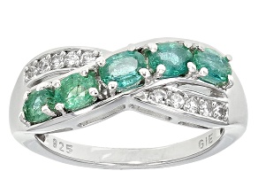 Green Zambian Emerald Sterling Silver Ring .86ctw