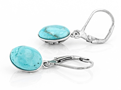 Blue Turquoise Rhodium Over Sterling Silver Earrings