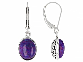 Purple Turquoise Rhodium Over Sterling Silver Earrings