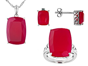Pink Onyx Rhodium Over Sterling Silver Ring, Stud Earrings, Pendant w/Chain Set