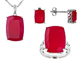 Pink Onyx Solitaire Ring, Stud Earrings And Pendant With Chain Set
