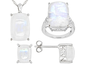 White rainbow moonstone rhodium over silver ring, earrings, and pendant with chain set