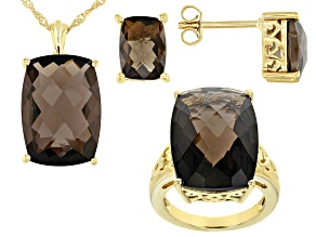 Brown smoky quartz 18k gold sterling silver ring, pendant with chain, and earrings set 33.23ctw