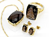 Brown smoky quartz 18k yellow gold over silver ring, pendant with chain, & earrings set 33.23ctw