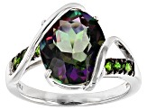 Multicolor Green Topaz Sterling Silver Ring 5.43ctw