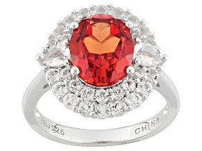 Orange Lab Padparadscha Sapphire And White Topaz Sterling Silver Ring. 4.33ctw.