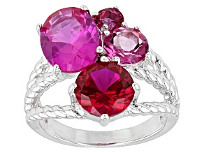 Pink Lab Created Sapphire, Lab Created Bixbite And Lab Created Ruby Sterling Silver Ring 6.44ctw
