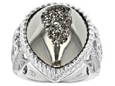 Platinum Color Drusy Quartz Sterling Silver Ring